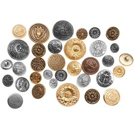 Assorted Vintage Metal Buttons Gold And Silver Tone 12-28mm Diameter - 1 Pound
