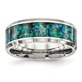Stainless Steel Polished with Blue Imitation Opal 8 mm Men's Ring - Sizes 7 - 13