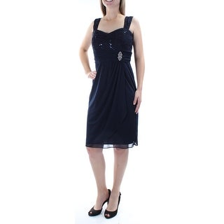 Womens Navy Sleeveless Knee Length Sheath Prom Dress Size: 8