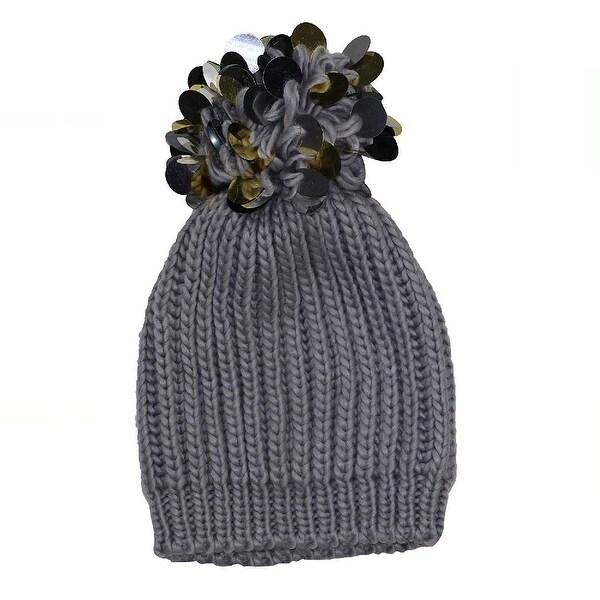 INC International Concepts Women's Paillette Chunky Knit Pom Pom Beanie Hat Grey - One Size Fits Most