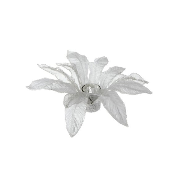 """13"""" White Poinsettia with Glitter Christmas Votive Candle Holder"""