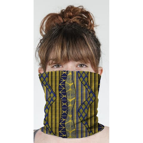"""WRAP BLUE & YELLOW Neck Gaiter By Becky Bailey - 10"""" x 18"""""""