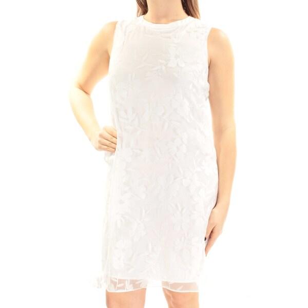 SLNY Womens White Sleeveless Jewel Neck Above The Knee Shift Dress Size: 10
