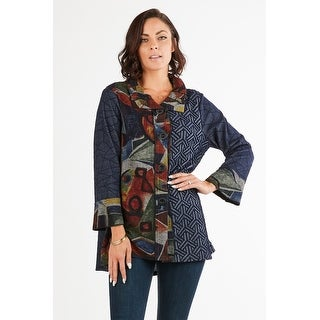 Link to Women's Blue/Multi Patchwork Button-Down Cardigan Jacket Similar Items in Women's Sweaters