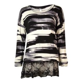 Kensie Women's Long-sleeve Lace-hem Blouse