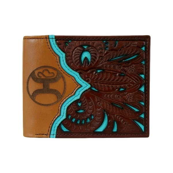 "HOOey Western Wallet Mens Bifold Signature Tooled Tan Brown - 4 1/2"" x 3/4"" x 3 1/2"""