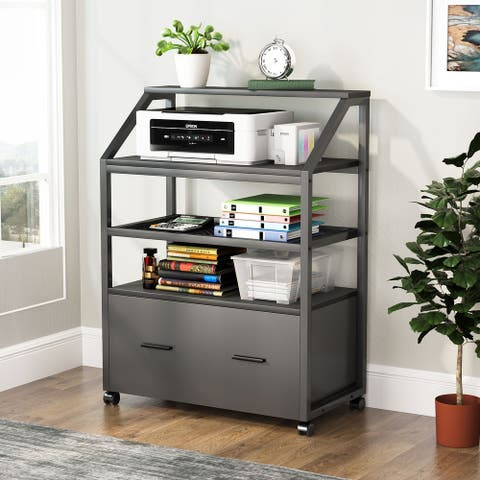 Wood Mobile Lateral File Cabinet with Drawer, Storage Shelves