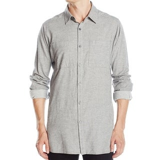 Kenneth Cole NEW Gray Mens Size Medium M Button Down Two-Pocket Shirt