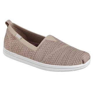 BOBS from Skechers Women's Super Plush-Long Stretch Flat, Taupe Pink