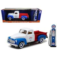 1950 GMC 150 Pickup Truck Chevron with Vintage Gas Pump 1/18 Diecast Model Car by Greenlight