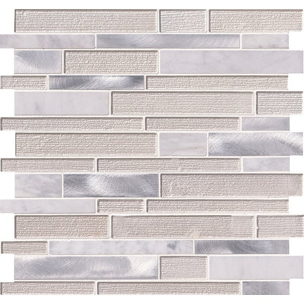 "MSI SMOT-SGLSMTIL-WA4MM 12"" x 12"" Linear Mosaic Sheet - Varied Glass, Metal and Stone Visual - Sold by Carton (20 SF/Carton)"