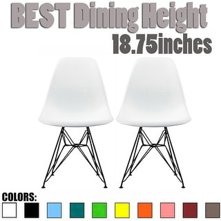 2xhome Set of 2 Modern Plastic Side Chairs Molded Dowel Eiffel For Kitchen Dining Accent Dark Black Wire Chrome Metal Legs