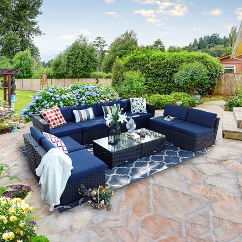 PHI VILLA 10-Piece Rattan Patio Conversation Sectional Sofa with 2 Tea Tables