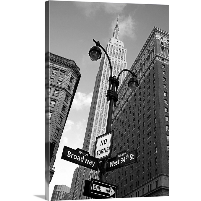 Empire State Building And Street Signs Manhattan New York City Ny Canvas Wall Art Overstock 16470597