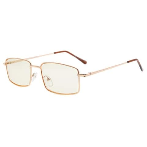 Eyekepper Spring Hinges Anti-Blue Ray/Anti-Strain Computer Eyeglasses (Gold/Amber Tinted Lens, +2.00)