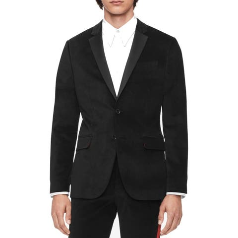 Calvin Klein Mens Blazer Black Size Large L Notched Velvet Two Button