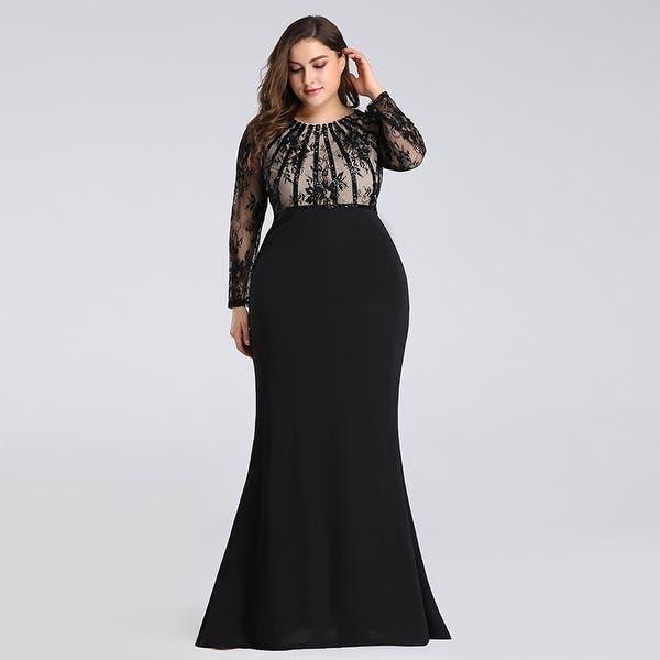 Shop Ever-Pretty Women\'s Plus Size Lace Long Sleeve Mermaid ...