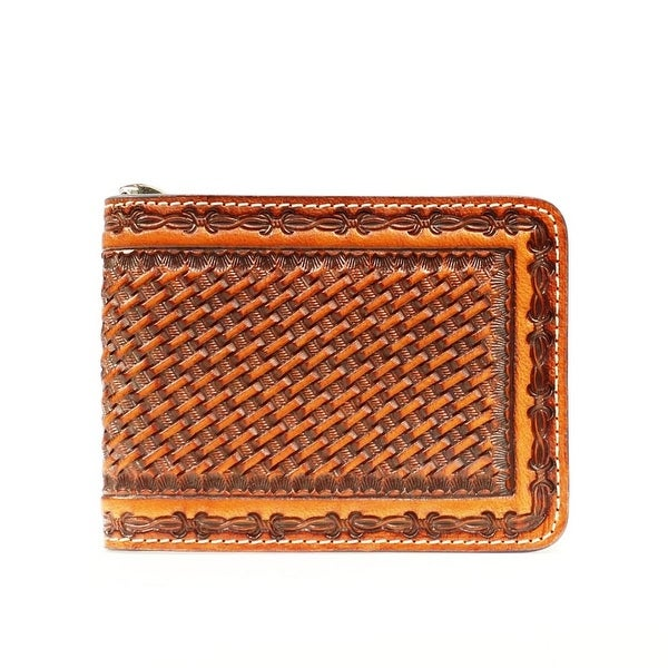 Nocona Western Wallet Mens Leather Bifold Basket Weave Brown - One size