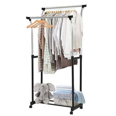 Costway Double Rod Adjustable Clothes Hanger Garment Rack Organizer Rolling Chrome - as pic