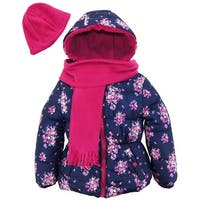 Pink Platinum Baby Girl Floral Winter Bublue Puffer Jacket with Scarf and Hat - 18 months