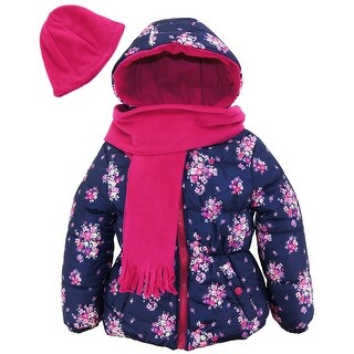 Pink Platinum Toddler Girl Floral Print Winter Puffer Jacket with Scarf and Hat
