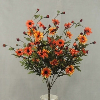 """1 Pc, 25"""" Tall Artificial Red & Orange Daisy Bush W/6 Branches Of Orange, Gold Blooms & Red Buds For Fall Arrangements"""