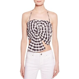 Kendall + Kylie Womens Crop Top Gingham Knot-Front