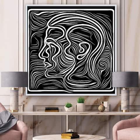 Designart 'Black And White Awareness Portrait II' Modern Framed Canvas Wall Art Print
