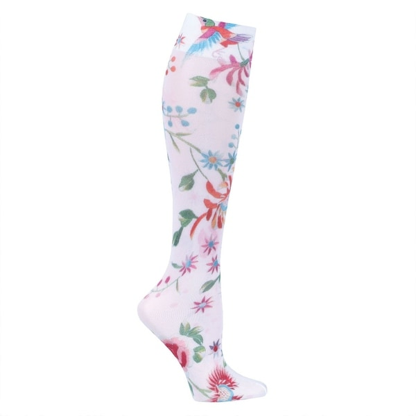 Celeste Stein Moderate Compression Knee High Stockings Wide Calf-White Dynasty - Medium