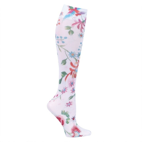 Celeste Stein Women's Moderate Compression Knee High Stockings - White Dynasty
