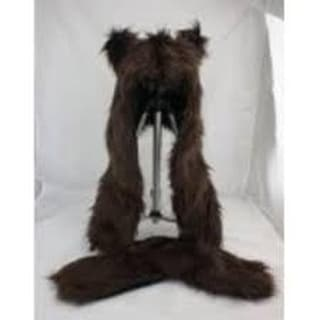 Wolf Costume Hat With Mittens: Brown One Size