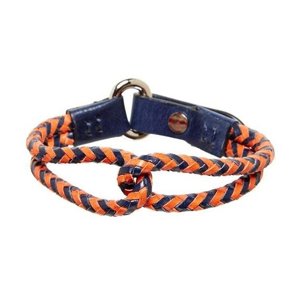 Tommy Bahama Mens Orange Navy Shore Leave Leather Bracelet
