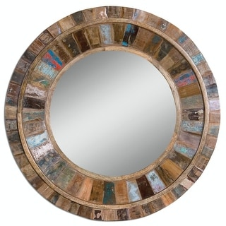 """32"""" Bohemian Multi-Colored Reclaimed Mango Wood Round Wall Mirror - Brown"""