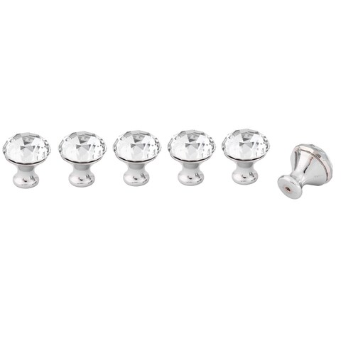 Home Acrylic Faux Diamond Cabinet Bookcase Drawer Pull Handle Knobs Clear 6pcs