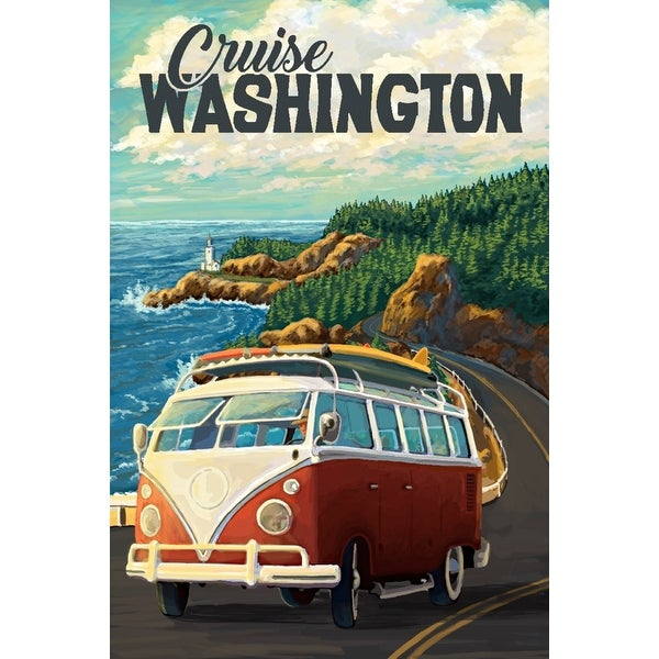 dccf29bd17f7f8 Shop Cruise Washington - Camper Van Coastal Drive Cruise - Lantern Press  Artwork (Art Print - Multiple Sizes Available) - Free Shipping On Orders  Over  45 ...