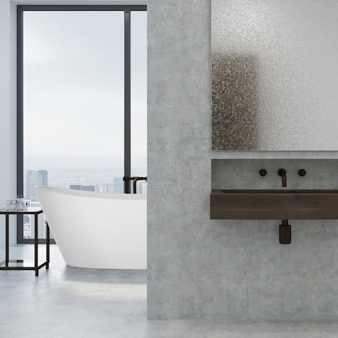 """67"""" x 30"""" Freestanding Hourglass Soaking Acryic Bathtub in White with Brushed Nickel Overflow and Drain"""