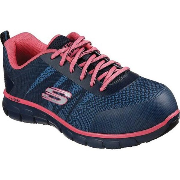 Skechers Women's Work Sure Track Saquenay Alloy Toe Shoe NavyPink