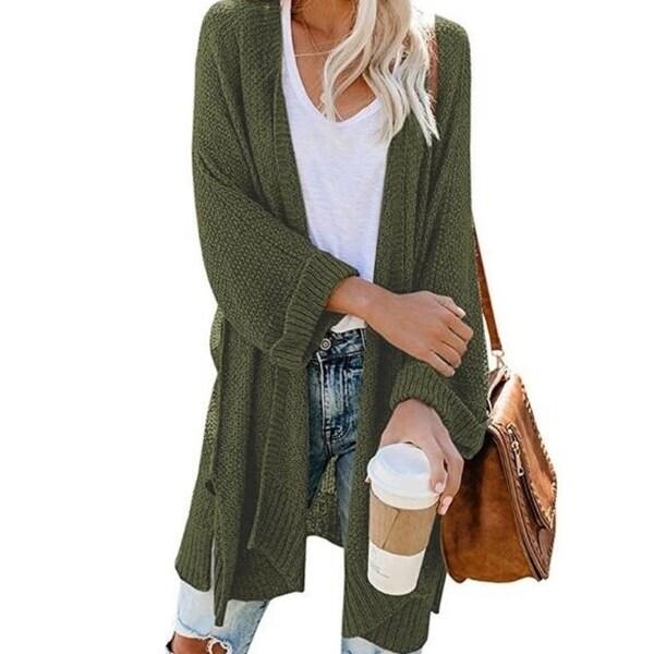 Shop Women's Casual Cardigan Sweaters Cozy Open Front Long