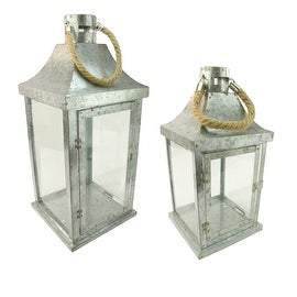 "Set of 2 Industrial Flecked Metal and Glass Paneled Nesting Pillar Candle Lanterns 14""-22"""