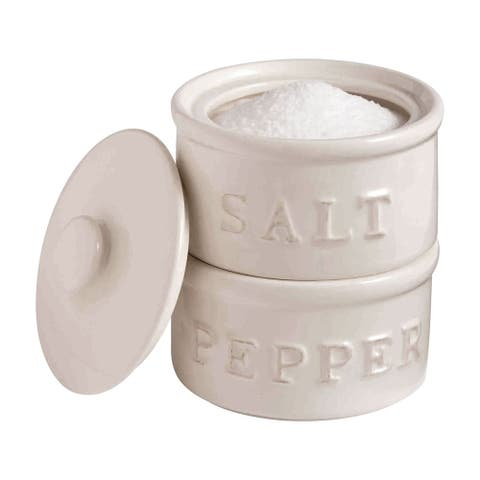 Salt and Pepper Stackable Holders Cellar Set - By Mud Pie - White - 3.5 in. x 3.5 in. x 6 in.