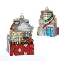 """Pack of 6 Rome Cityscape Glass Christmas Ornaments 5"""" - multi"""