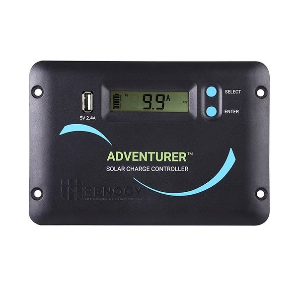 Renogy Adventurer Li- 30A PWM Flush Mount Charge Controller w/ LCD Display - black - Lithium Battery Compatibility. Opens flyout.