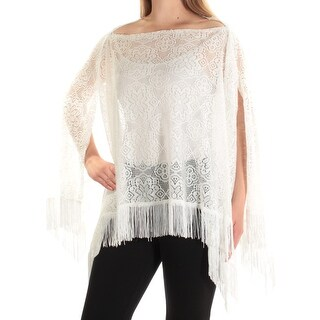 INC Womens White Fringed Lace Boat Neck Top Size: ONE SIZE