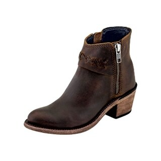 Old West Fashion Boots Girls Leather Zip Short High Heel Brown