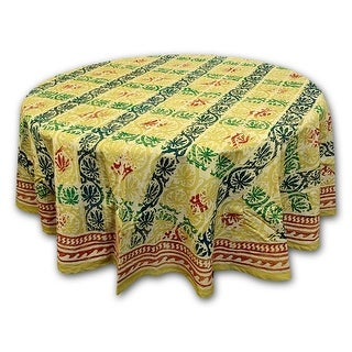 Cotton Hand Block Print Floral Tablecloth Round 72 Inches Beige Blue Green Red