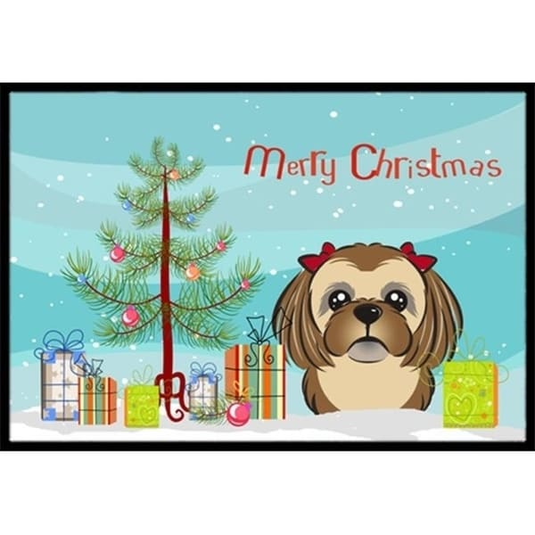 Carolines Treasures BB1621JMAT Christmas Tree & Chocolate Brown Shih Tzu Indoor or Outdoor Mat 24 x 36