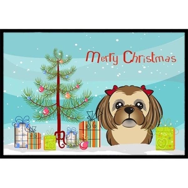 Carolines Treasures BB1621MAT Christmas Tree & Chocolate Brown Shih Tzu Indoor or Outdoor Mat 18 x 27