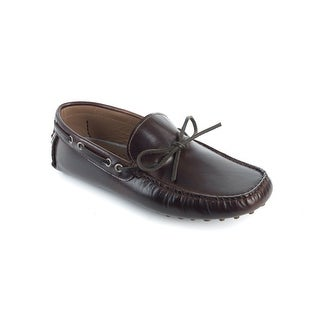 Brunello Cucinelli Men's Brown Leather Boat Loafers