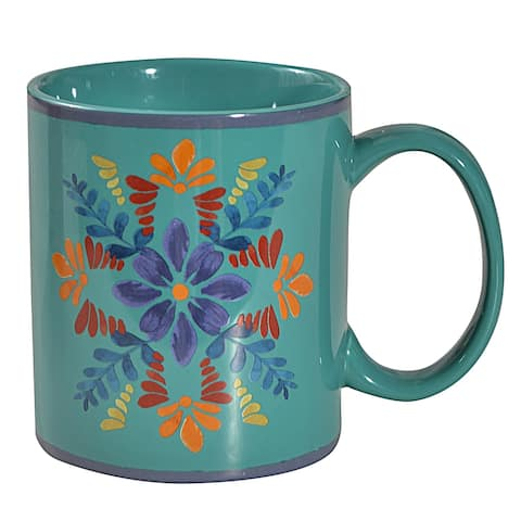 HiEnd Accents Bonita Mugs, 4 PC Turquoise