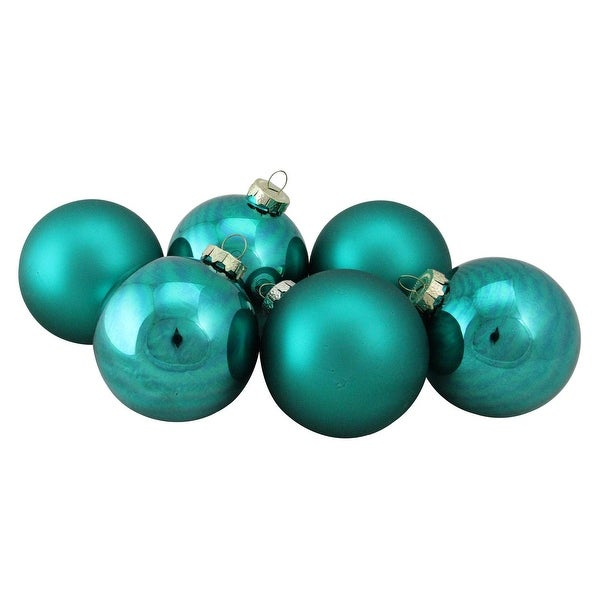 """6-Piece Shiny and Matte Turquoise Blue Glass Ball Christmas Ornament Set 3.25"""" (80mm)"""
